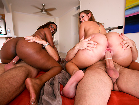 Ebony And Ivory W/ Bella & Nikki Stone  Ass Parade